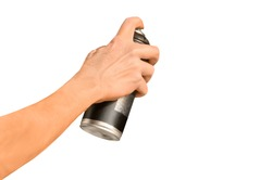 graffiti spray can in hand isolated on white background