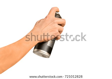 graffiti spray can in hand isolated on white background #721012828