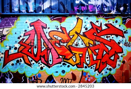 Graffiti tag thats red - stock photo
