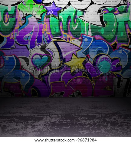 Graffiti wall background, urban street grunge art design