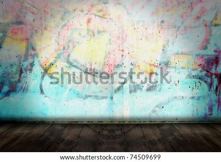 Graffiti wall in grunge room style - stock photo