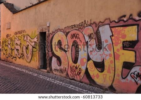 Graffiti wall in Rome,Italy