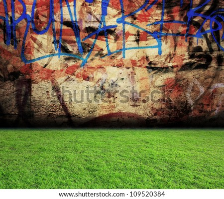 graffiti wall with grass floor