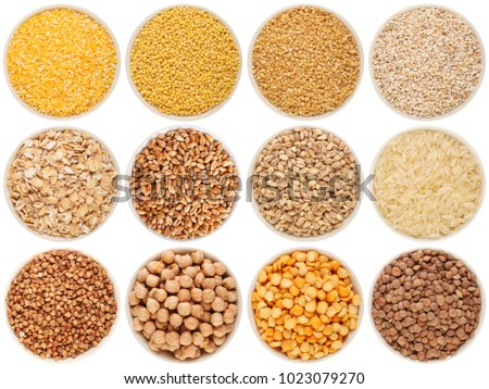 Grain and cereal food selection in bowls. 1: crushed corn, 2: millet, 3: crushed wheat; 4: crushed barley; 5: oat flakes, 6: wheat, 7: barley, 8: rice, 9: buckwheat, 10: chick-pea, 11: pea, 12: lentil #1023079270