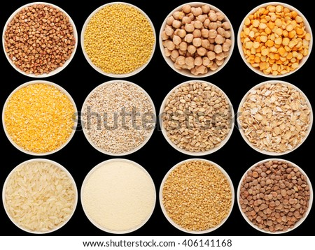Grain and cereal food selection in porcelain bowls: buckwheat, millet, chick-pea, peas, crushed corn, crushed barley; barley, oat flakes, rice, semolina, crushed wheat; lentil. Isolated on black. #406141168