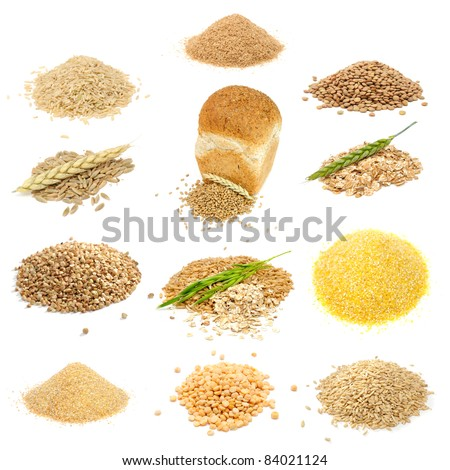 Grain and Cereal Set (Brown Rice, Bran, Lentils, Rye Grains, Wheat Grains and Flakes, Buckwheat, Oats, Corn Grits, Wheat Groats, Split Peas, Whole Oats) Isolated on White Background