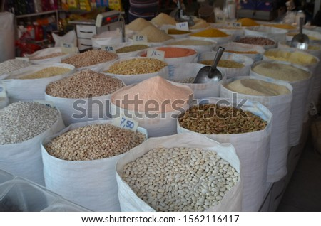 Grain and legumes are placed in bags. The concept of healthy eating