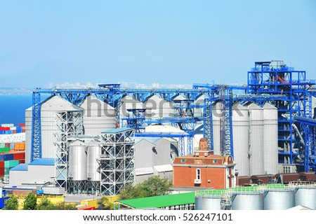 Grain dryer in the port of Odessa, Ukraine #526247101