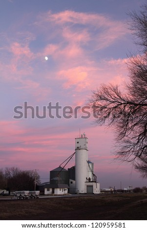 Grain Elevator in Kansas with Beautiful Sky and Moon