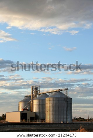 Grain elevators near the Salton Sea in California