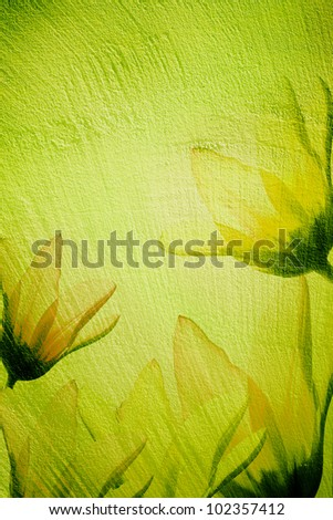 Grain green paint wall background or texture  with flowers