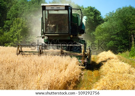 Grain Harvester Combine collecting from the wheat crops