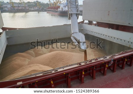Grain loading in hold of bulk carrier ship with elevator crane closeup. Port grain elevator. Industrial sea trading port bulk cargo zone grain terminal