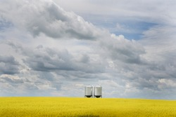 Grain silos on a blooming yellow canola field under a dramatic sky on the Canadian Prairies.