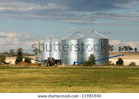 Grain silos on a farm in the Central West region of New South Wales, Australia