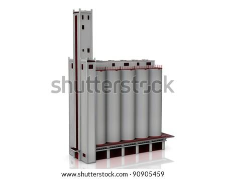 grain silos on a white background #90905459