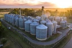 Grain storage steel silos, Patagonia, Argentina