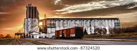 Grain terminal at sunrise in Saskatoon, Canada
