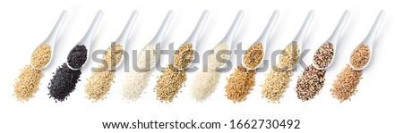 Grains. From left: oats, black rice, brown rice, carnaroli rice, buckwheat, basmati rice, khorasan wheat, barley, quinoa, spelt on white background. Top view.