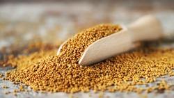 Grains of mustard. Mustard Seeds Vegan concept. Healthy diet. Selective focus. Macro.