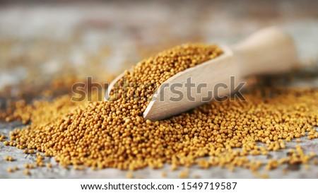 Grains of mustard. Mustard Seeds Vegan concept. Healthy diet. Selective focus. Macro. Foto stock ©