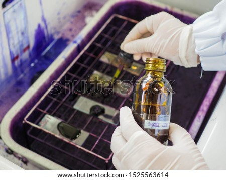 Gram stain process in bacterial  staining. #1525563614