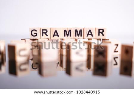 Grammar word cube on reflection Stock photo ©