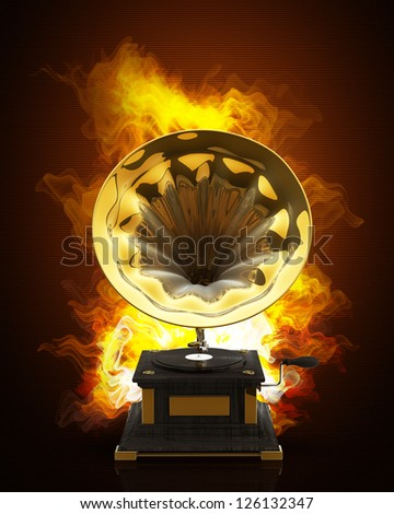 Gramophone. Old record player in Fire. High resolution. 3D image