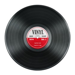 gramophone record Long played record  vinyl Carbide vintage analog music recording 12 inch 33 rpm red label  isolated over white background. This nas clipping path.