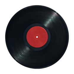 gramophone record Long played record  vinyl Carbide vintage analog music recording 12 inch 33 rpm red label  isolated over white background. This has clipping path.