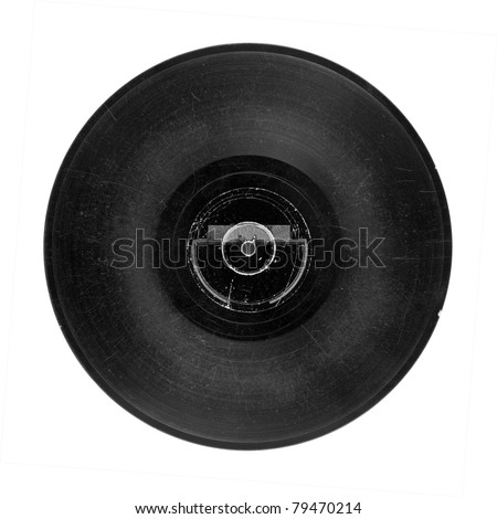 Gramophone record of 30's, 78 r.p.s., isolated on white - stock photo