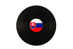 Gramophone record with the flag of Slovakia. Slovak music. Vinyl record with the flag of Slovakia, on a white background, isolated