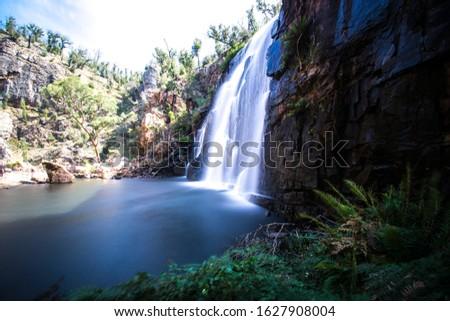 Grampians mountain, Victoria, Australia- March 2019: Iconic waterfall of national park Grampians Stock photo ©