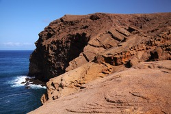 Gran Canaria, landscape of steep eroded north west coast between Galdar and Agaete municipalities, hike between  villages Sardina del Norte and Puerto de Las Nieves