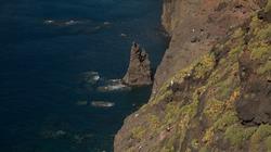 Gran Canaria, landscape of steep eroded west coast between in Agaete municipality, hike between  Puerto de las Nieves and dark sand Guayedra beach