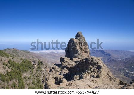 Shutterstock Gran Canaria, view from Pico de Las Nieves towards valley Barranco de Tirajana,  rock formation Morron de Agujerada