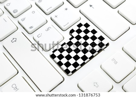 Gran Prix motor race finish chess flag concept, enter button or key on white keyboard