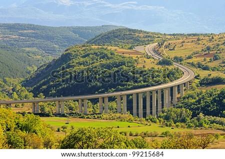 Gran Sasso freeway - stock photo