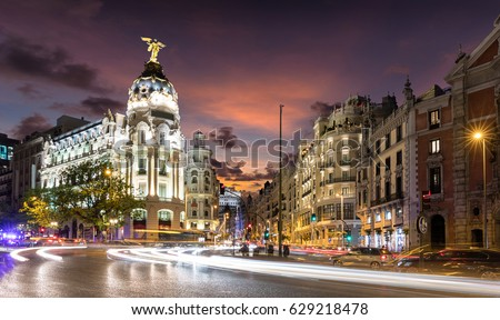 Shutterstock Gran Via Street in Madrid, Spain, after sunset