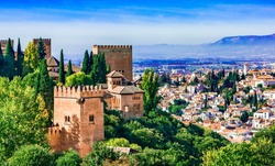 Granada, Andalusia,Spain Europe - Panoramic view of Alhambra