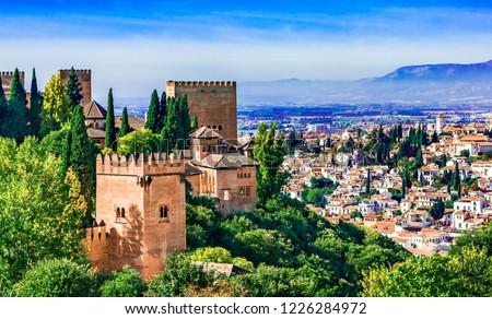 Granada, Andalusia,Spain Europe - Panoramic view of Alhambra Stock fotó ©