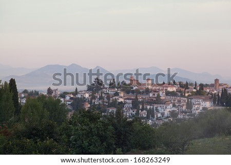 Granada, view of the Arab quarter early in the morning
