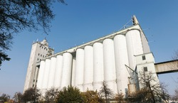 Granary elevator in Podil in Kyiv. The granary is designed to store large quantities of grain. The elevator became a business card of Kyiv Podil.