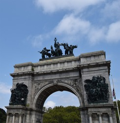 Grand Army Plaza, originally known as Prospect Park Plaza, is a public plaza that comprises the northern corner and the main entrance of Prospect Park in the New York City borough of Brooklyn.