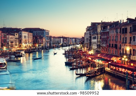 Grand Canal after sunset, Venice - Italy