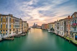 Grand Canal and Basilica Santa Maria della Salute at sunrise in Venice, Italy