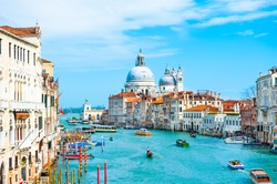 Grand Canal and Basilica Santa Maria della Salute in Venice, Italy. Famous tourist destination. Travel and vacation concept