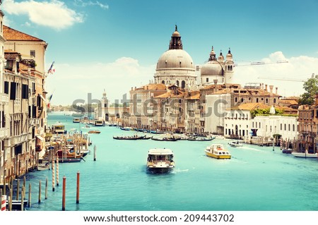 Grand Canal and Basilica Santa Maria della Salute, Venice, Italy  #209443702