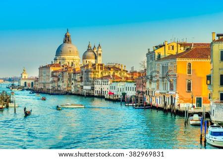 Grand Canal and Basilica Santa Maria della Salute, Venice, Italy  #382969831