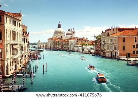 Grand Canal and Basilica Santa Maria della Salute, Venice, Italy #411075676